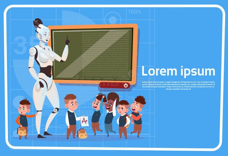 L'insegnante femminile In School Teaching del robot moderno scherza il concetto futuristico della tecnologia di intelligenza arti royalty illustrazione gratis
