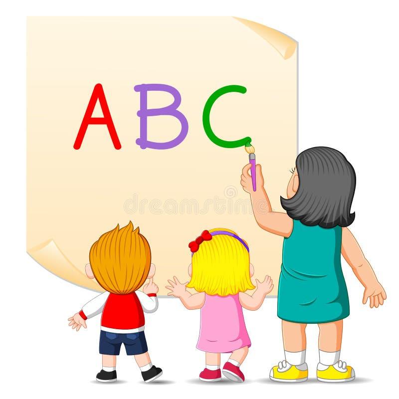 L'insegnante sta insegnando all'alfabeto per i bambini illustrazione di stock
