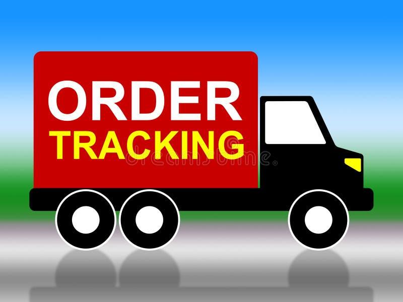 L'inseguimento di ordine indica la consegna e muoversi logistici royalty illustrazione gratis