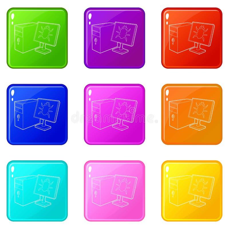 L'insetto sul monitor delle icone con computer personale ha messo una raccolta di 9 colori illustrazione vettoriale