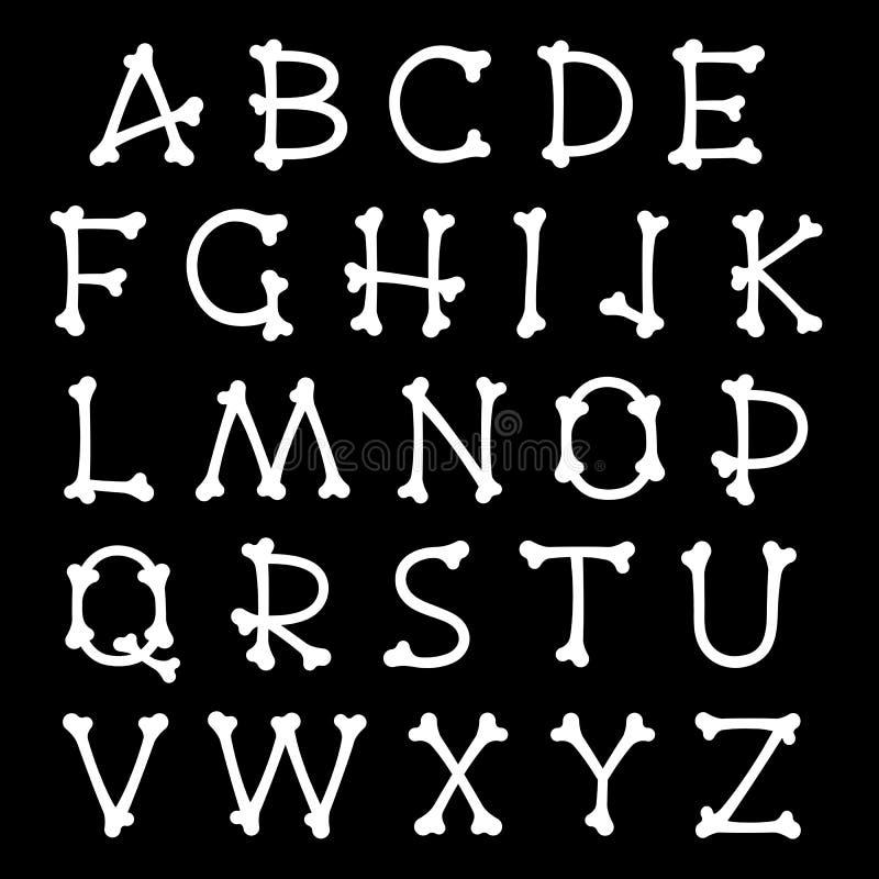 L'insieme completo delle lettere dell'alfabeto ha modellato come ossa illustrazione vettoriale