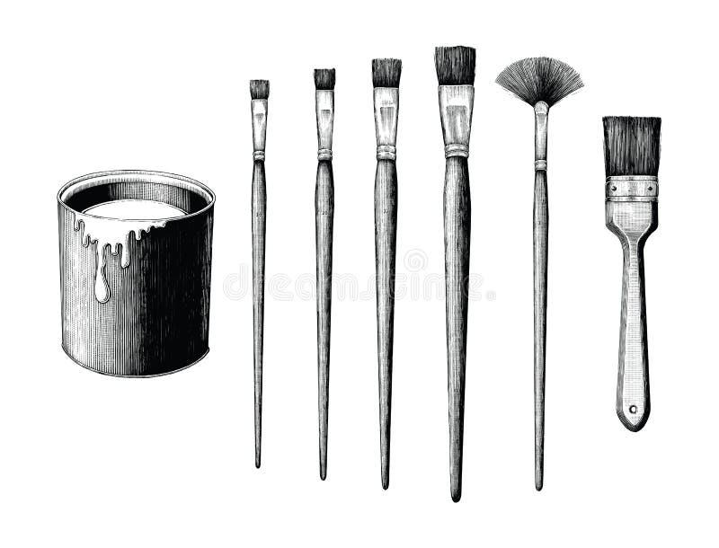 L'insieme d'annata e la pittura dei pennelli possono passare il clipart del disegno è illustrazione di stock