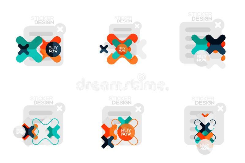 L'insieme degli autoadesivi di progettazione piana e delle etichette geometrici, prezzi da pagare, distintivi di promozione di of illustrazione di stock