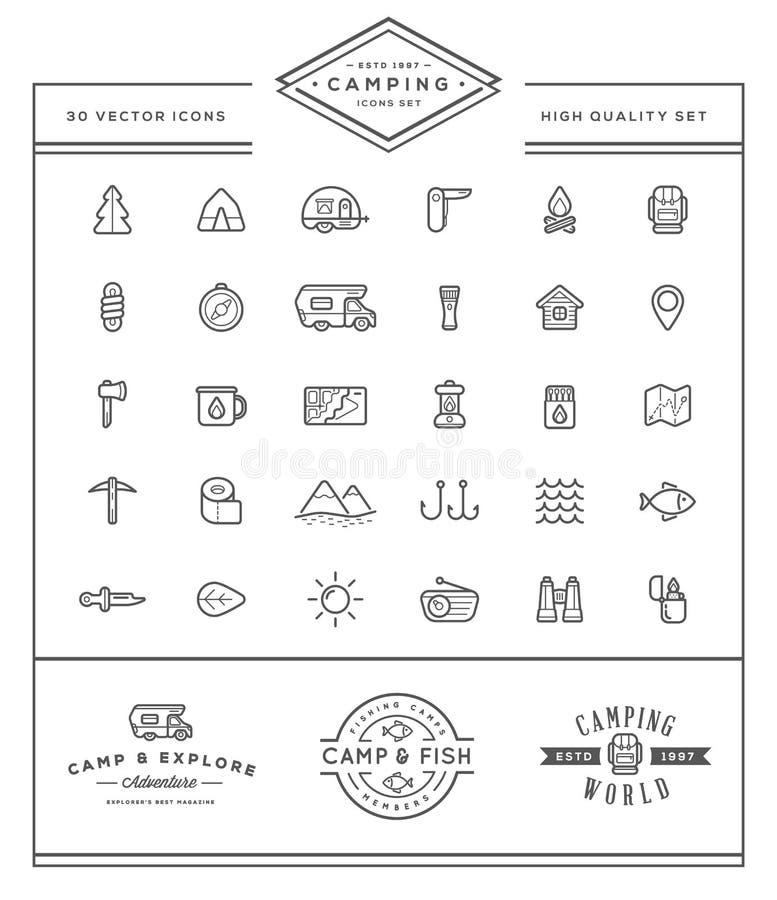 L'insieme degli elementi di campeggio del campo di vettore e l'illustrazione delle icone di attività all'aperto possono essere ut illustrazione di stock