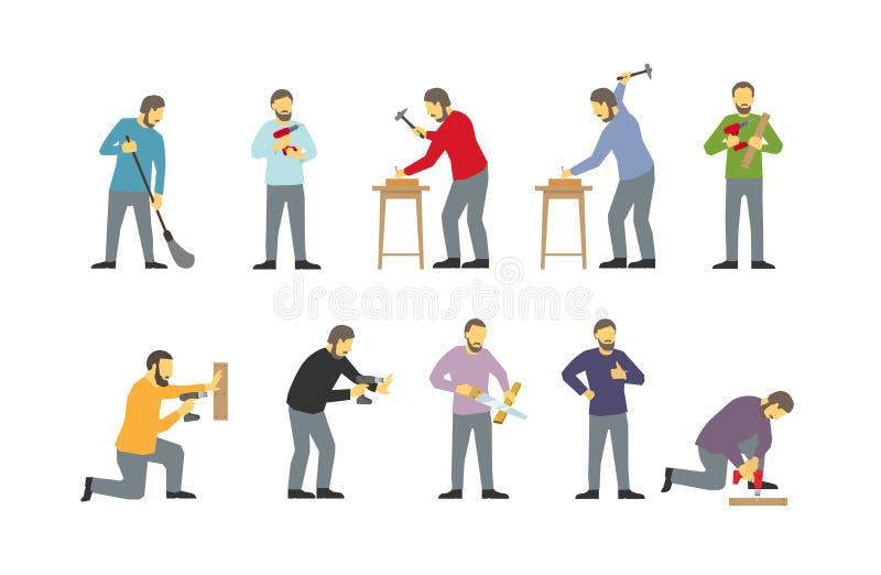 L'insieme degli uomini è fabbri barbuti lavoro-occupati differenti Trapani con il trapano Martellato dentro con i chiodi Sega l'a royalty illustrazione gratis