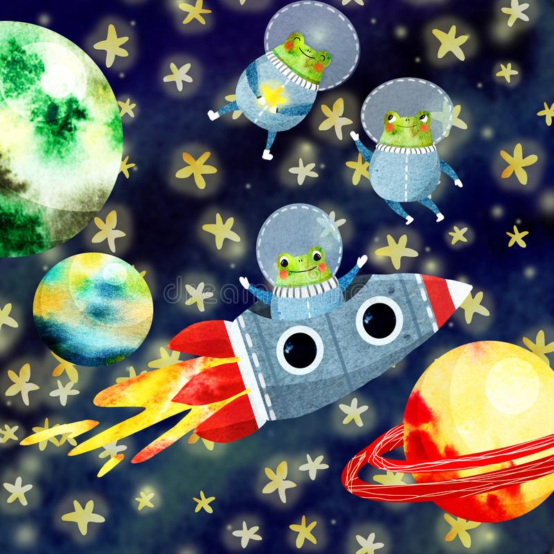 L'insieme dei bambini con i pianeti ed il razzo illustrazione di stock