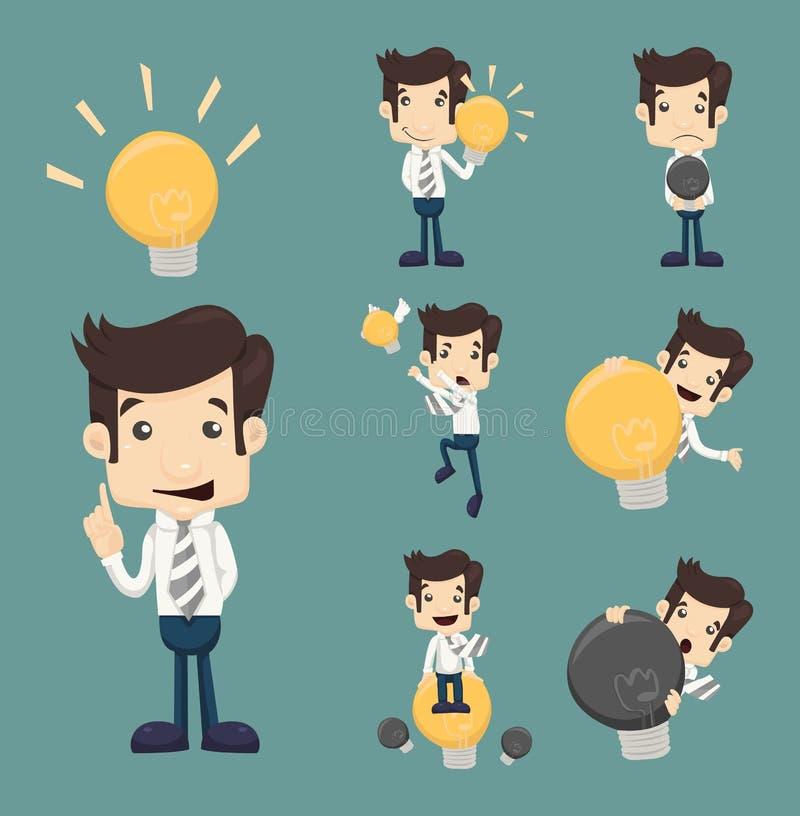 L'insieme dei caratteri dell'uomo d'affari fa l'idea illustrazione vettoriale