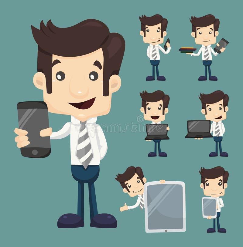 L'insieme dei caratteri della compressa e dello Smart Phone di manifestazione dell'uomo d'affari posa illustrazione di stock