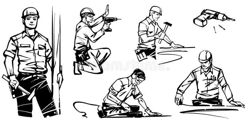 L'insieme dei carpentieri del lavoro sul lavoro illustrazione di stock
