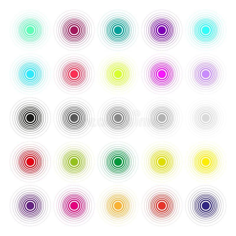 L'insieme dei cerchi disegnati a mano di vettore facendo uso del cerchio dello scarabocchio del disegno di schizzo allinea Elemen illustrazione vettoriale