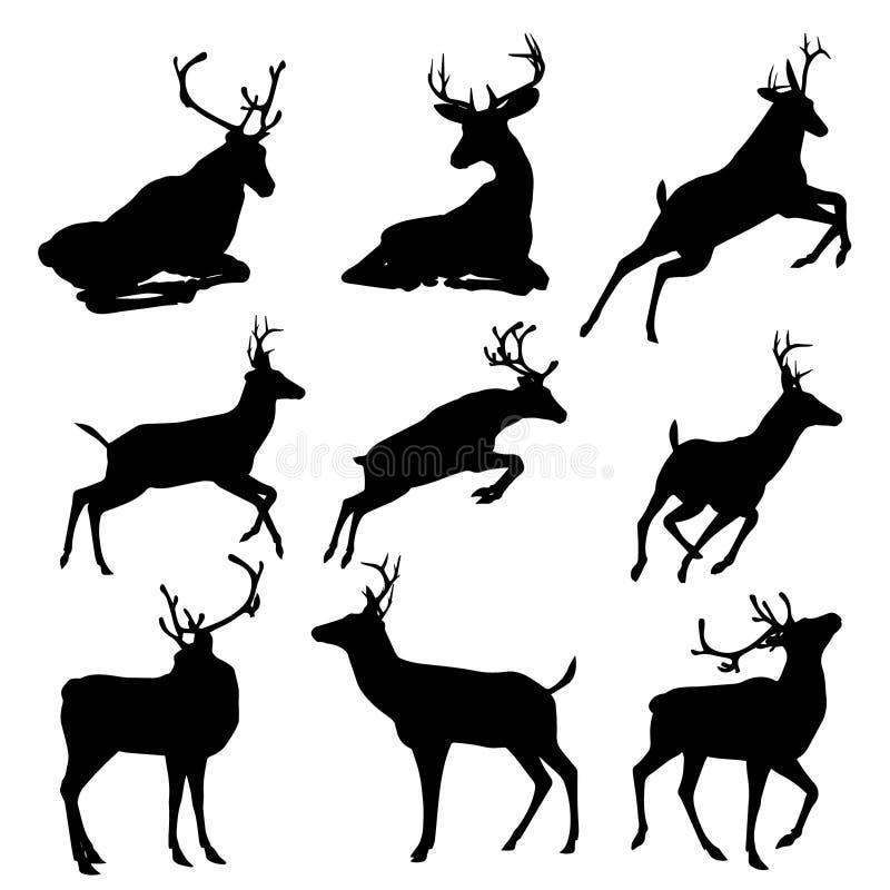 L'insieme dei cervi vector l'illustrazione della siluetta, isolata su fondo bianco royalty illustrazione gratis