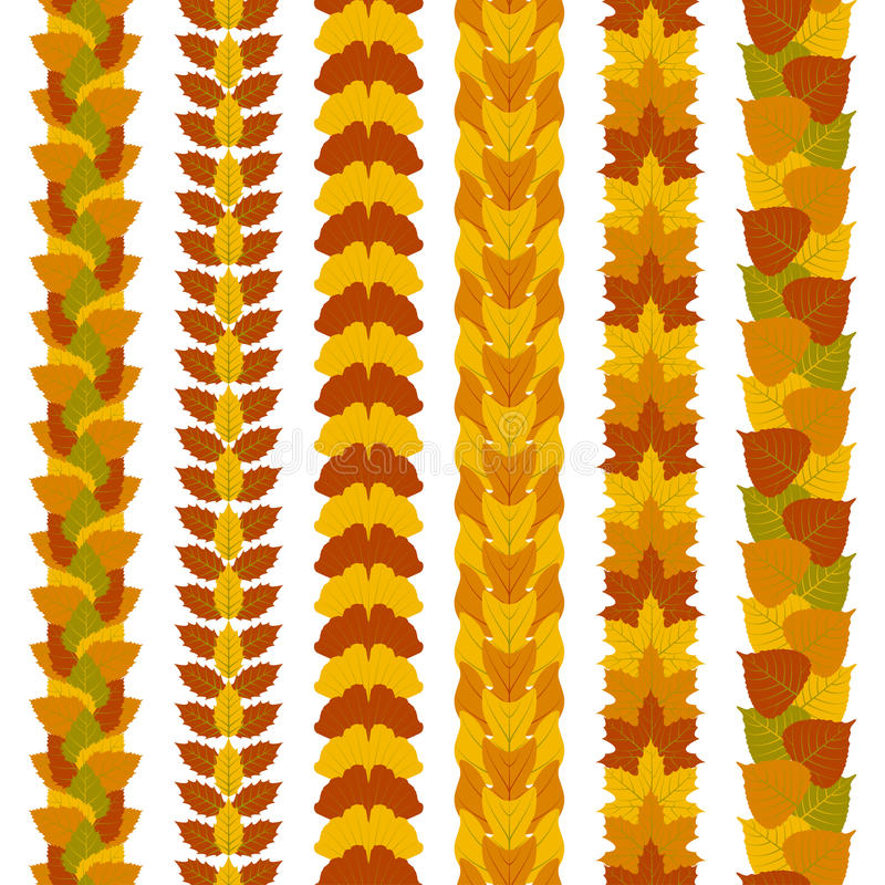 L'insieme dei confini fogliati stilizzati fatti dell'albero differente lascia, quali il ginkgo, l'albero di tulipano, la cenere,  illustrazione vettoriale