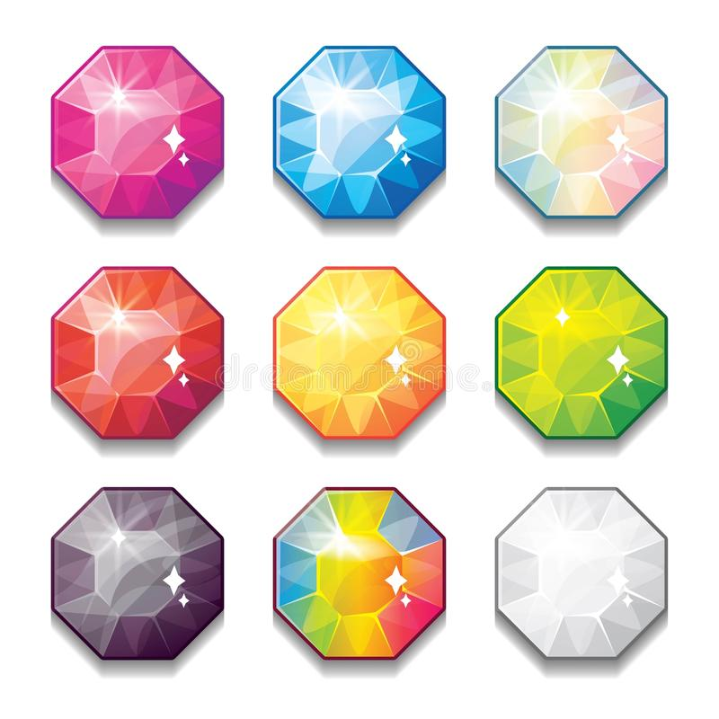 L'insieme dei cristalli differenti di colore del fumetto, pietre preziose, diamanti vector la raccolta dei beni del GUI per proge illustrazione di stock