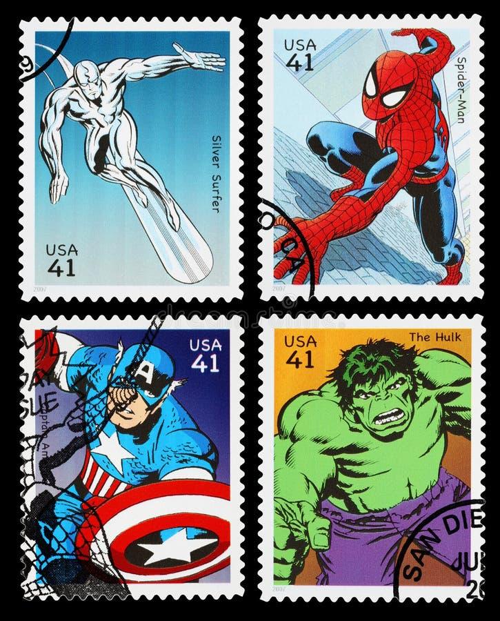 Francobolli del supereroe degli Stati Uniti fotografia stock libera da diritti