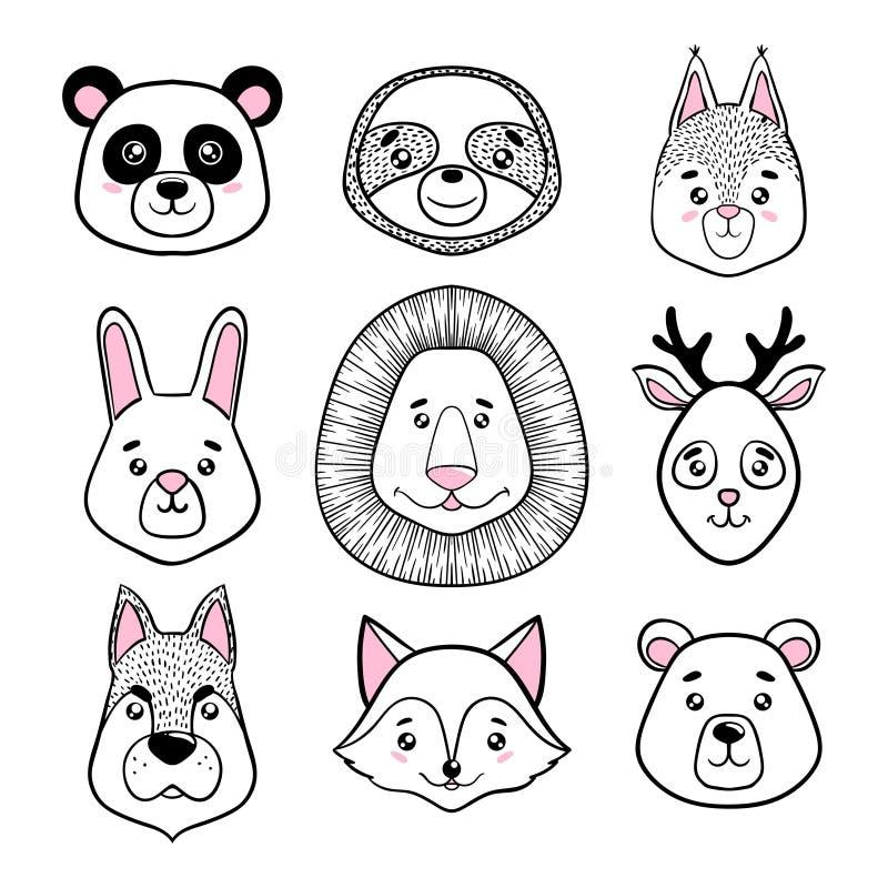 L'insieme dei fronti animali svegli annerisce, bianco panda, bradipo, scoiattolo, coniglietto, leone, cervo, cane, volpe, orso St illustrazione vettoriale
