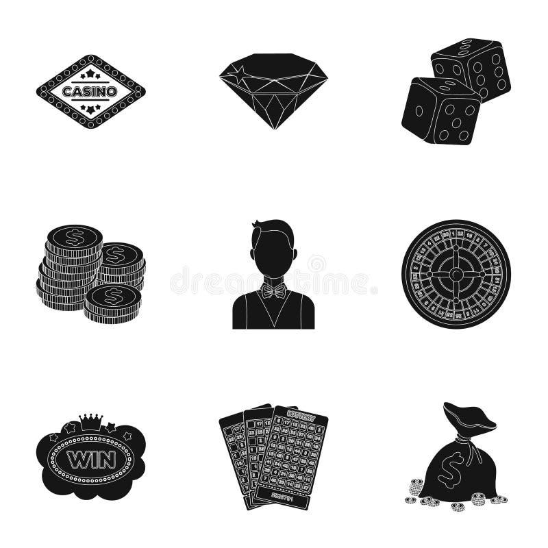 L'insieme dei giochi del casinò di simboli Giocando per i soldi Chip, domino, casinò Casinò ed icona di gioco nella raccolta dell illustrazione di stock