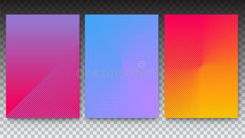 L'insieme dei manifesti minimalistic, coperture ha messo con la pendenza sul contesto trasparente Insegne con progettazione geome royalty illustrazione gratis