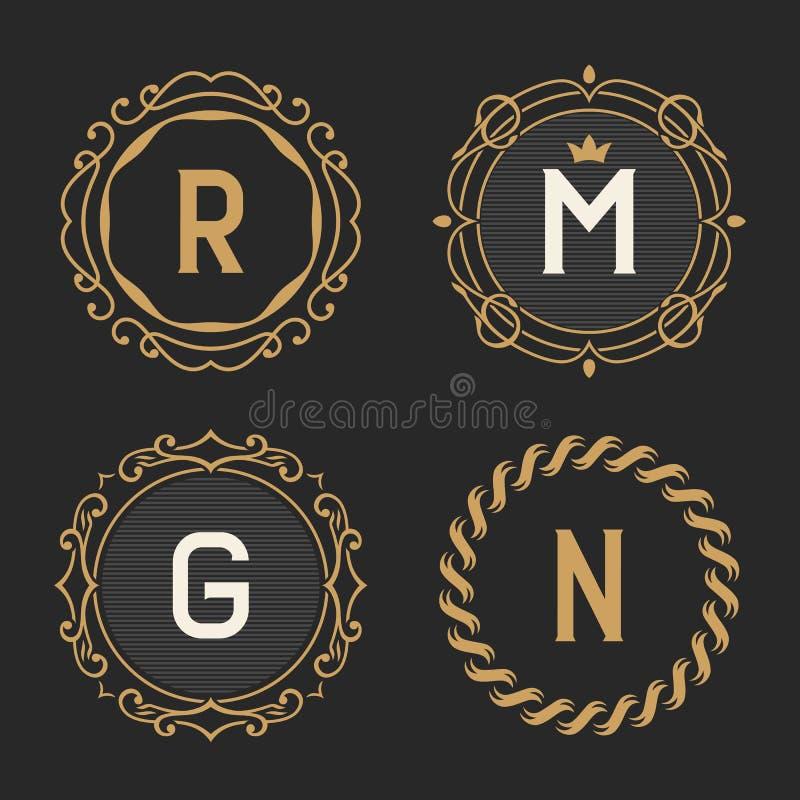 L'insieme dei modelli d'annata alla moda dell'emblema e di logo del monogramma illustrazione di stock