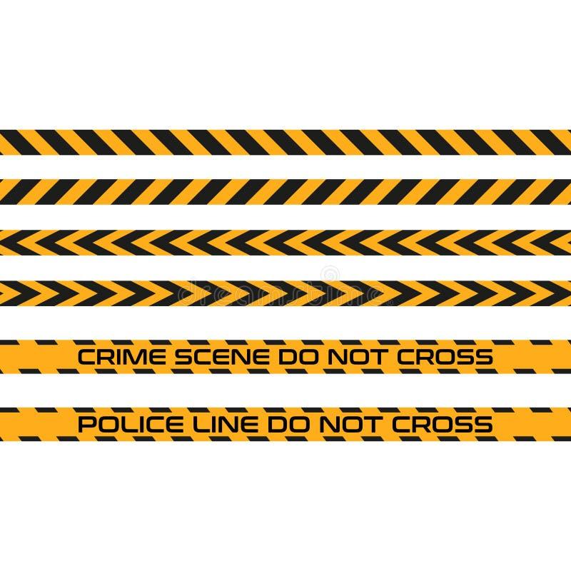 L'insieme dei nastri senza cuciture, linea di vettore di polizia non attraversa Zona pericolosa, avvertente illustrazione di stock
