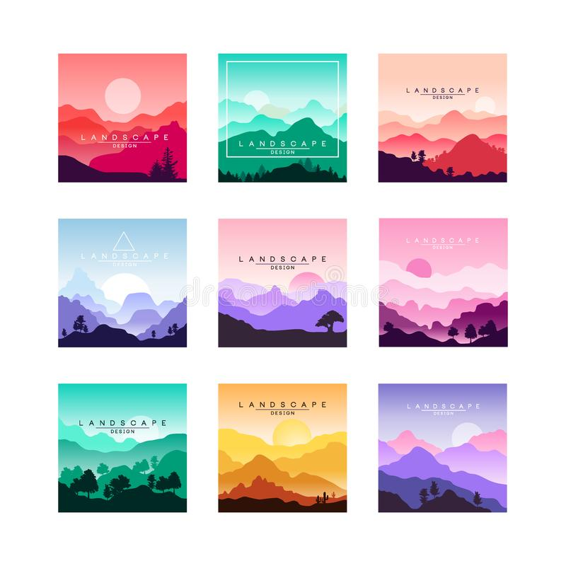 L'insieme dei paesaggi originali piani minimalistic progetta con le montagne, colline, raccolta di vettore della foresta della na illustrazione di stock
