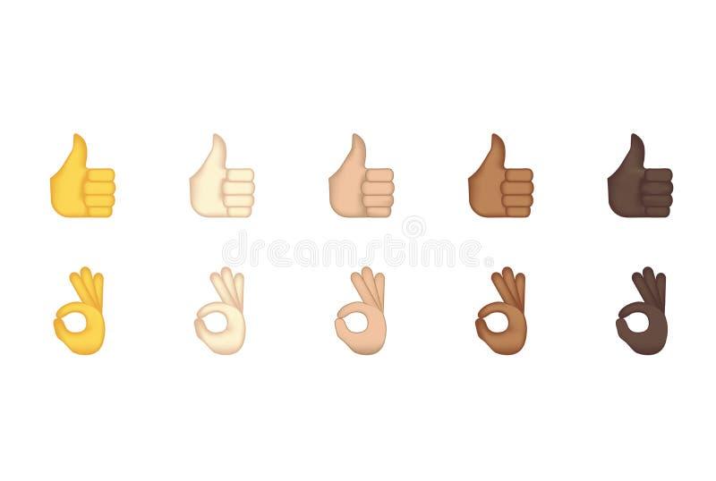 L'insieme dei pollici aumenta e emoticon giusto di gesto illustrazione vettoriale