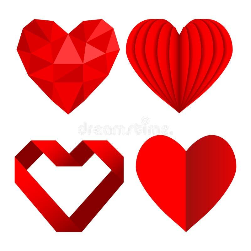 L'insieme dei simboli rossi del cuore ama da carta e dal nastro sgualciti, st illustrazione di stock