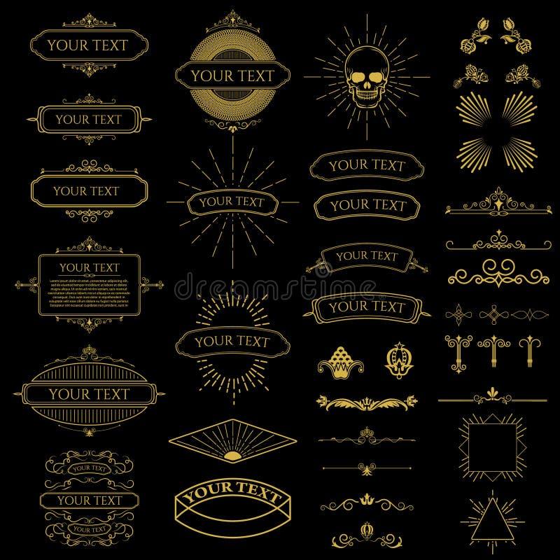 L'insieme dei telai d'annata ha messo e progetta gli elementi royalty illustrazione gratis