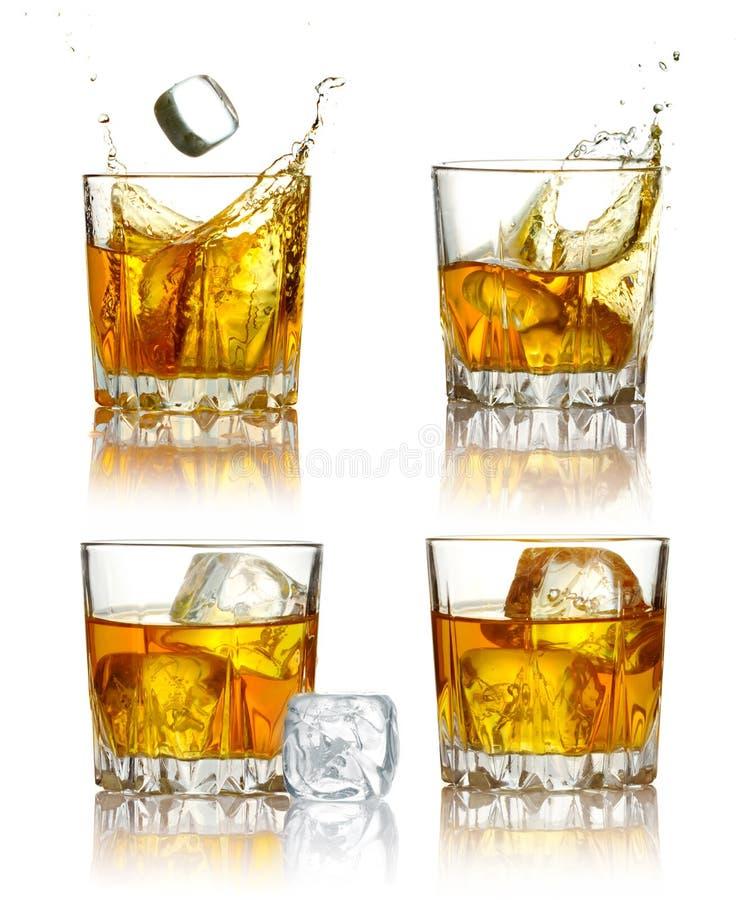 L'insieme dei vetri del whisky scozzese ha isolato immagini stock