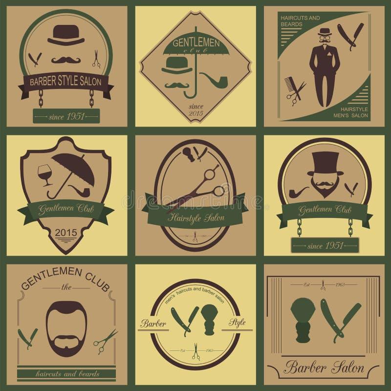 L'insieme del barbiere d'annata, l'acconciatura ed i signori bastonano il logos Vecto illustrazione vettoriale