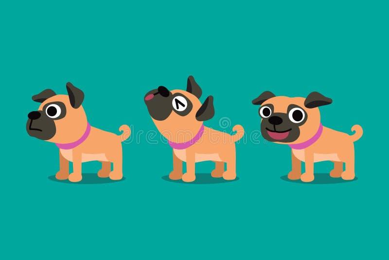 L'insieme del cane sveglio del carlino del personaggio dei cartoni animati di vettore posa royalty illustrazione gratis