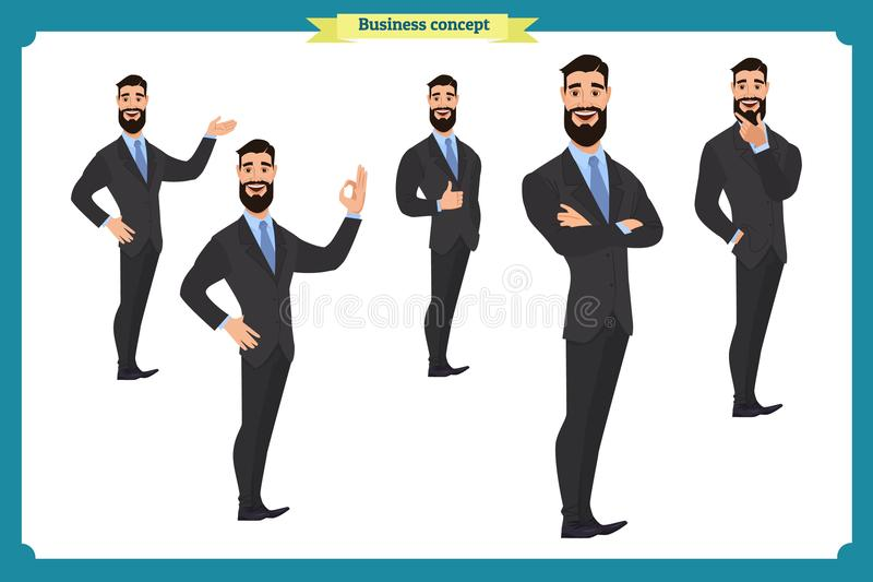 L'insieme del carattere dell'uomo d'affari posa, gesti, azioni, elementi del corpo Isolato su bianco royalty illustrazione gratis