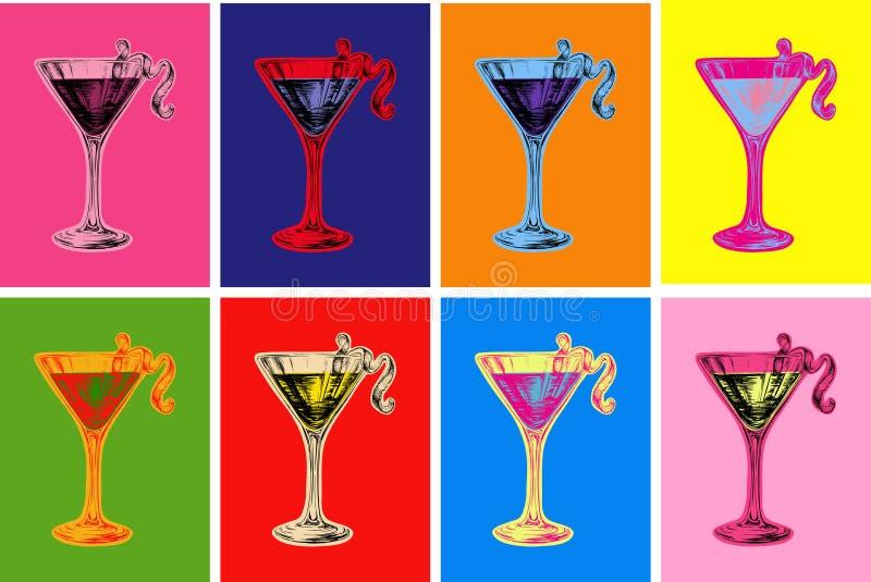 L'insieme del cocktail cosmopolita colorato di schizzo disegnato a mano beve l'illustrazione di vettore illustrazione di stock