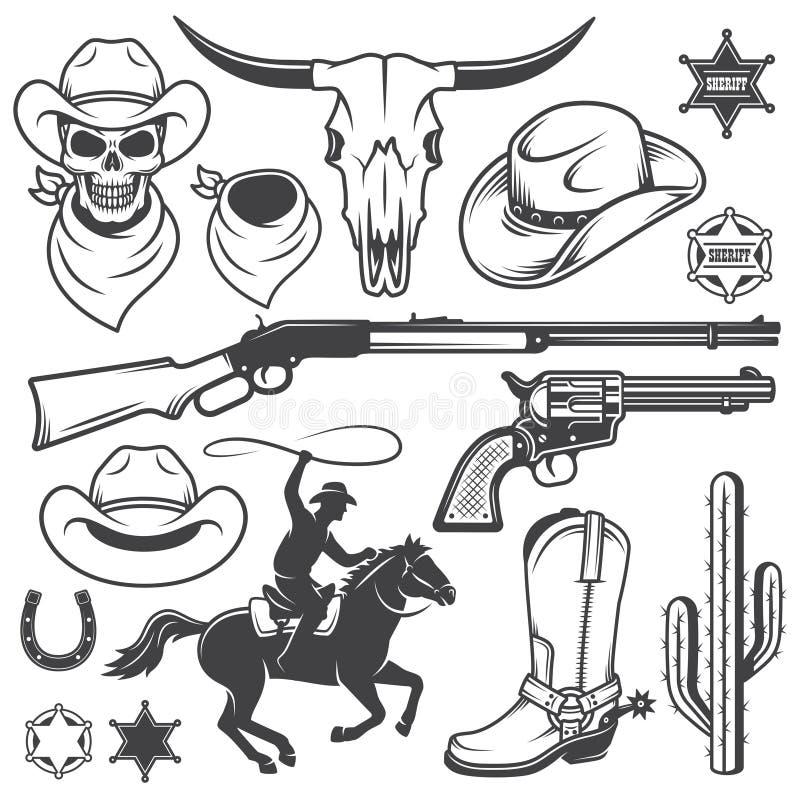L'insieme del cowboy ad ovest selvaggio ha progettato gli elementi illustrazione vettoriale