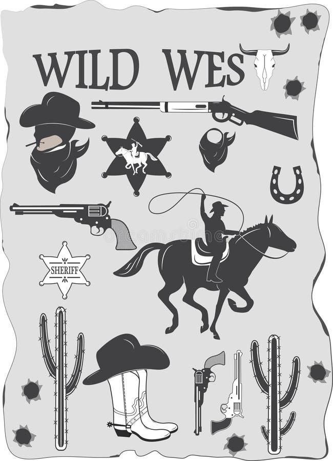 L'insieme del cowboy ad ovest selvaggio ha progettato gli elementi illustrazione di stock