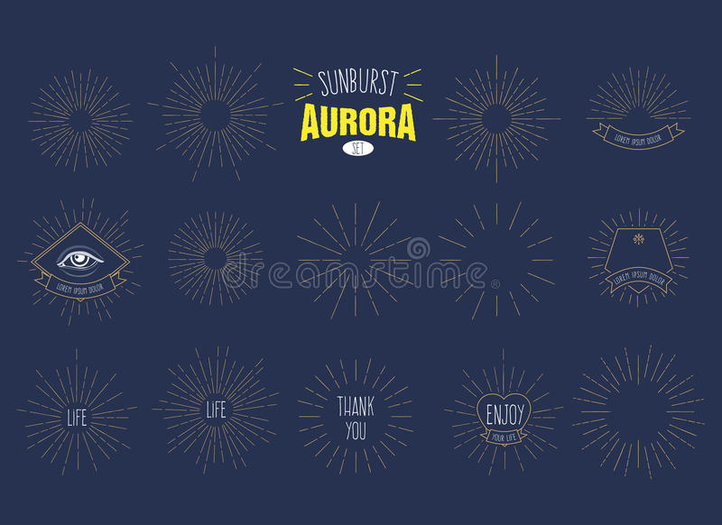 L'insieme del ` dell'aurora dello sprazzo di sole del ` di retro esplosione solare modella per il vostro progetto di progettazion royalty illustrazione gratis