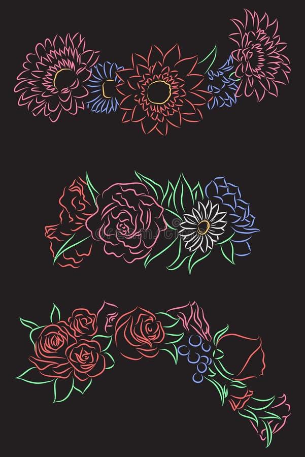 L'insieme del disegno di contorno del gesso del fiore si avvolge per la testa illustrazione vettoriale