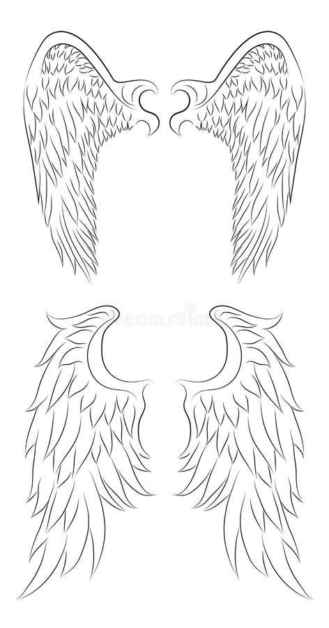 L'insieme del disegno differente di contorno di un angelo traversa illustrazione di stock
