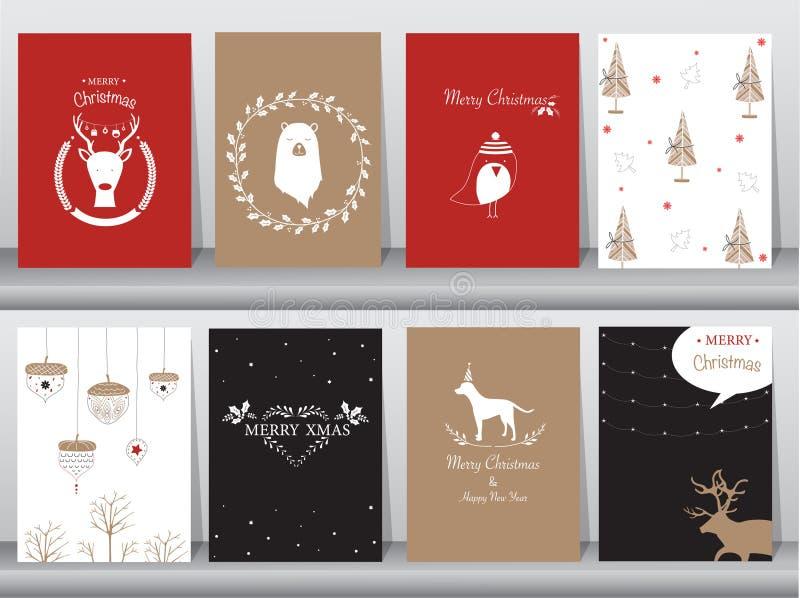 L'insieme del fondo sveglio di Buon Natale con l'animale sveglio e l'inverno copre, animale sveglio, illustrazioni di vettore illustrazione vettoriale
