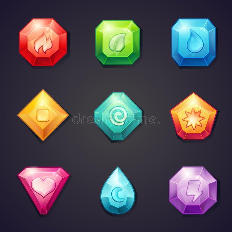 L'insieme del fumetto ha colorato le pietre con l'elemento differente dei segni per uso nel gioco, tre in una fila illustrazione vettoriale