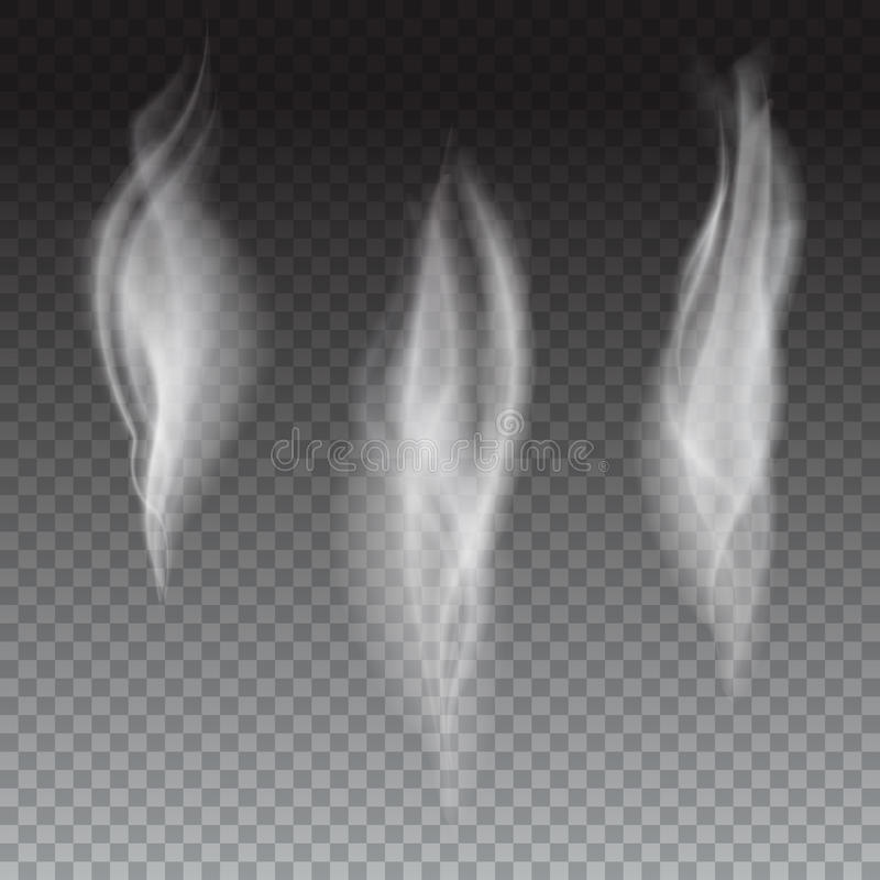 L'insieme del fumo bianco delicato della sigaretta ondeggia su fondo trasparente, fumo realistico digitale, illustrazione di vett royalty illustrazione gratis