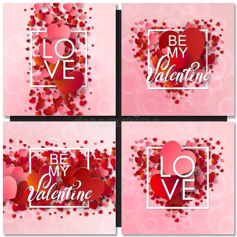 L'insieme del giorno di biglietti di S. Valentino felice e la sarchiatura progettano le carte illustrazione vettoriale