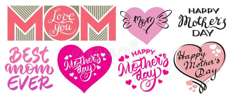 L'insieme del giorno felice di Mother's stampa - l'iscrizione, scrittura, tipografia, calligrafia fotografia stock libera da diritti