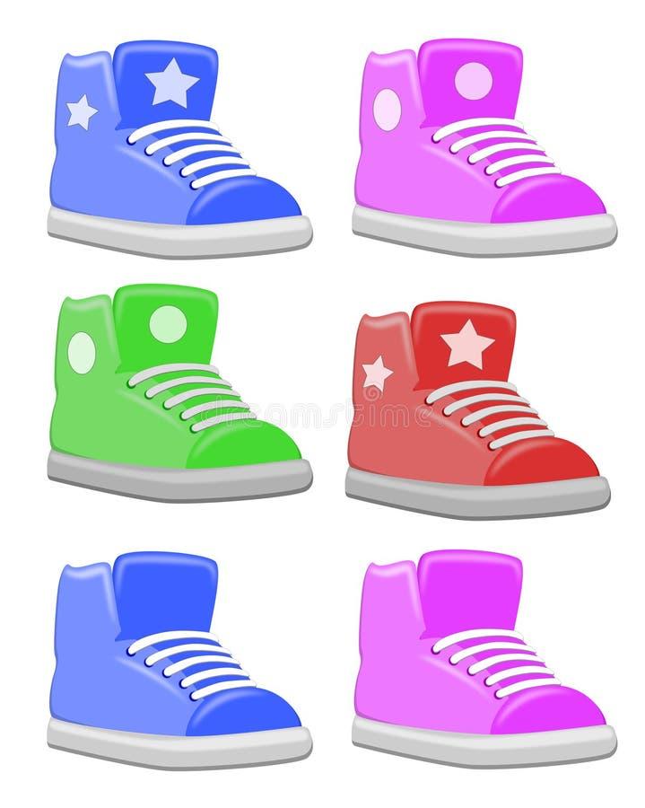 L'insieme del grasso dei bambini calza le scarpe da tennis illustrazione di stock