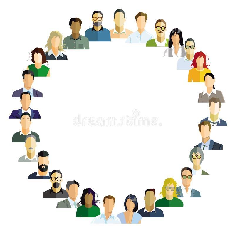 L'insieme del gruppo del ritratto delle persone, affronta illustrazione di stock