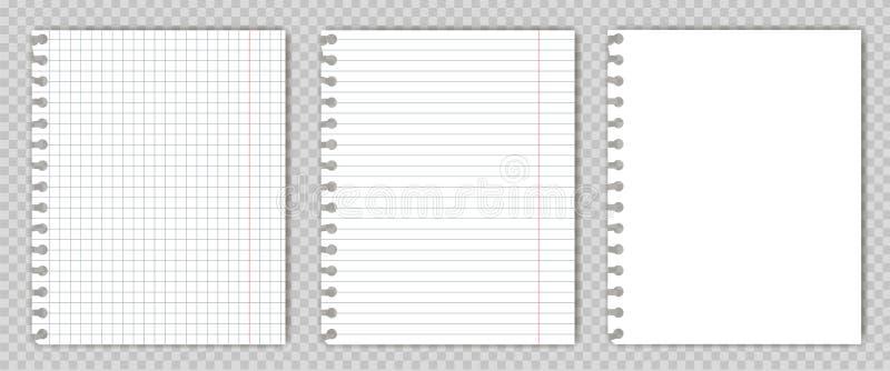 L'insieme del libro in bianco della copia riveste con i bordi lacerati Modello o modello delle pagine del blocco note del grafico fotografie stock libere da diritti