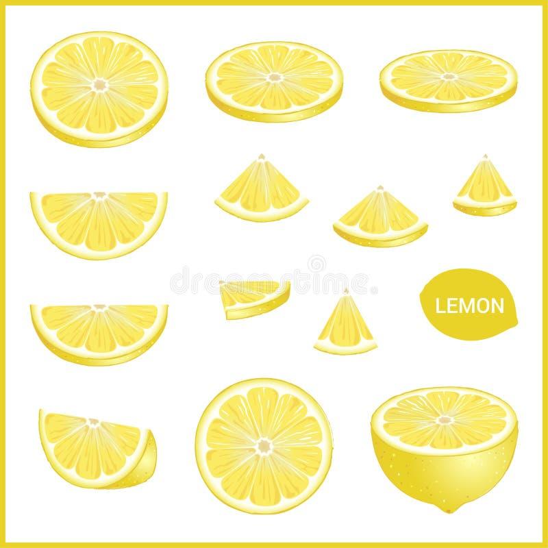L'insieme del limone giallo fresco in varia fetta disegna il formato di vettore illustrazione vettoriale