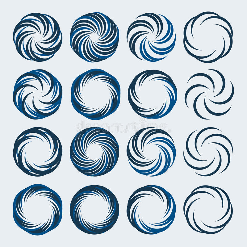 L'insieme del logo di turbinii e di spirale progetta gli elementi fotografie stock