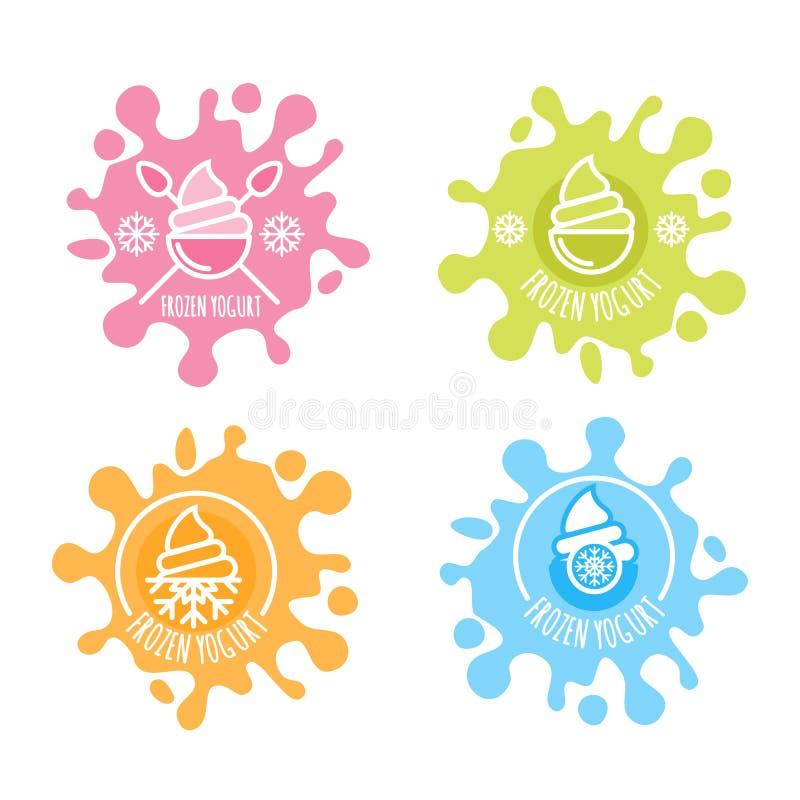 L'insieme del logo di vettore, etichetta di yogurt congelato in latte multicolore spruzza royalty illustrazione gratis