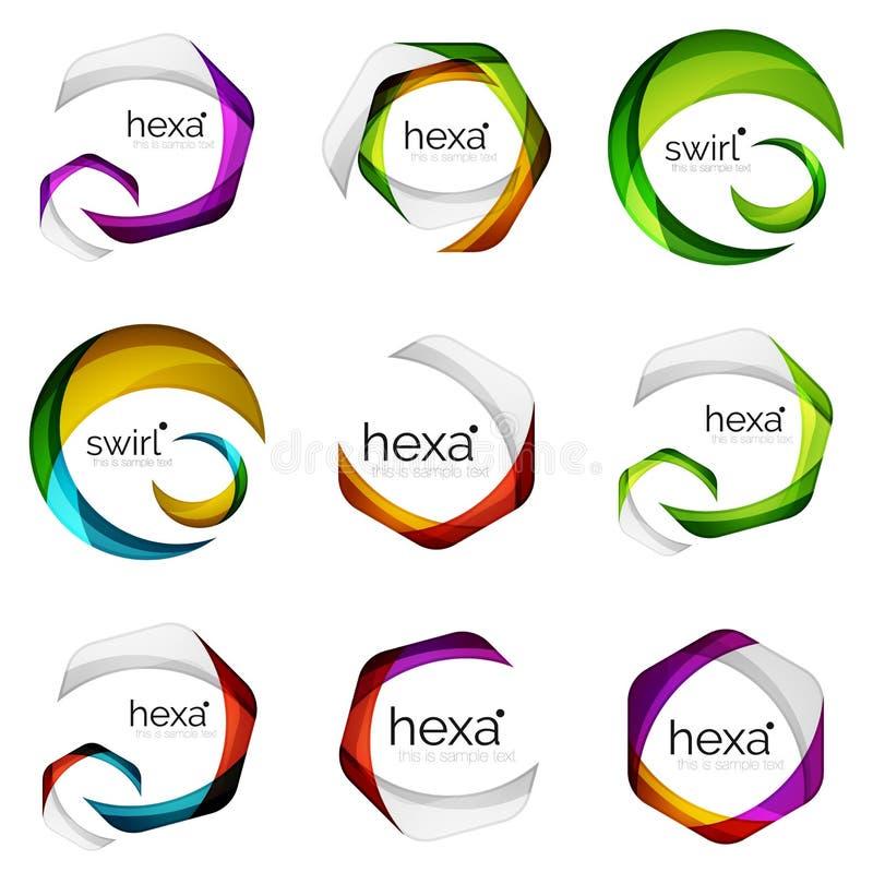 L'insieme del logos astratto di esagono, emblemi geometrici del logotype della società di marca, identità astratta di affari mode illustrazione vettoriale