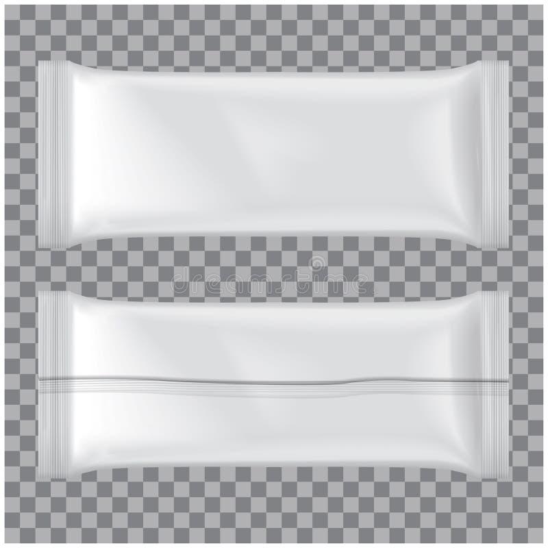 L'insieme del modello del pacchetto del gelato, Vector il pacchetto in bianco bianco dello spuntino del sacchetto di plastica illustrazione vettoriale